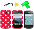 Heavy Duty Hybrid Phone Cover Case Cell Phone Accessory + Extreme Band + Stylus Pen + LCD Screen Protector + Yellow Pry Tool For Straight Talk Net10 Huawei Ascend Y M866 H866C / Huawei Ascend Y 201 U8666 (Polka Red Dot)
