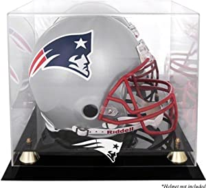New England Patriots Golden Classic Helmet Display Case with Mirror Back by Mounted Memories