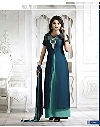Krishna Green Color Georgette Semi Stitch Dress Material With Dupatta..