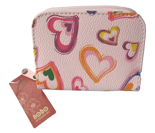Ladies Girls Pink Heart PURSE Wallet with Key ring inside
