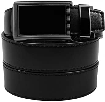 "SlideBelts Men's Leather Belt without Holes - Black Buckle / Black Leather (Trim-to-fit: Up to 48"" Waist)"