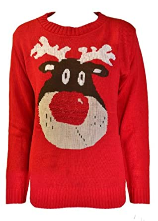 WOMENS CHRISTMAS NOVELTY KNITTED JUMPERS SANTA SNOWMAN XMAS SNOW FLAKES REINDEER RED BLAC KNITWEAR TOP 8 10 12 14 (S/M(8-10), Red Reindeer)