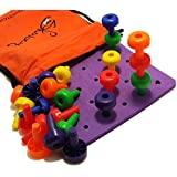 Peg Board Set - Montessori Occupational Therapy Fine Motor Toy for Toddlers and Preschoolers with 30 Pegs for Color Recognition Sorting & Counting - Free 20+ Activity Pegboard Download