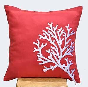 Amazon.com - Coral Decorative Pillow Cover, Throw Pillow, Orange Coral Linen, White Coral ...
