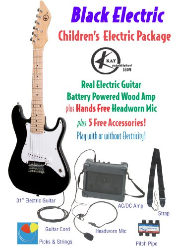 Kay Children'S Electric Guitar Package, Guitar, Amp, Microphone & Accessories, Black (No Electricity Required)