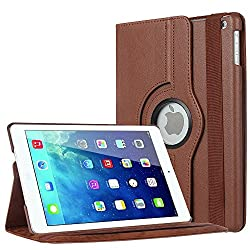 TGK 360 Degree Rotating Leather Smart Stand Case Cover For iPad Air/iPad 5/New 5th - Brown