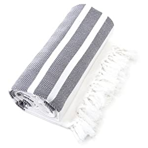 Linum Home Textiles Herringbone Pestemal/Fouta Towel, Graphite Grey and White