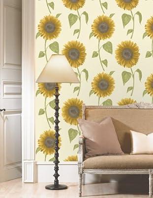 Sunflower Floral Print Luxury Wallpaper Natural Flower Leaf