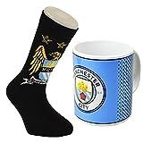 Manchester City Fade Mug and Size 6-11 Sock Gift Set Combo