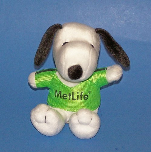 "5"" Plush Metlife Snoopy in Green Shirt - 1"