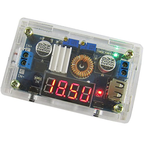 Yeeco DC DC Power Supply Buck Converter Voltage Regulator Constant Voltage & Current Adjustable 5-36V to 1.25-32V Step Down LED Driver Lithium Battery Charger with Red LED Display Voltmeter USB Output