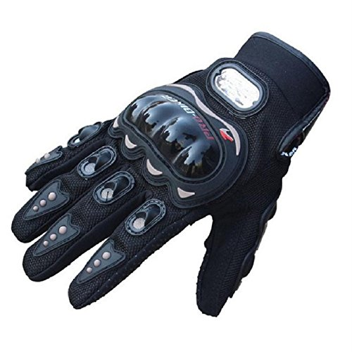 Malloom® Paio Guanti Protettivo in Fibra PU Cuoio per Moto Scooter Nero Taglia (M)
