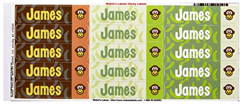 Mabel'S Labels 40845053 Peel And Stick Personalized Labels With The Name James And Monkey Icon, 45-Count front-707840