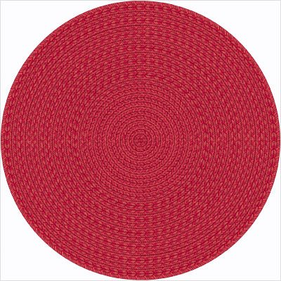 Whimsy Legacy Red Round Rug With Braided Print Size: Round 5'4""