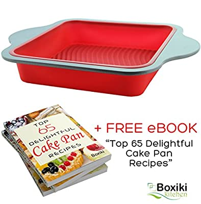 """Professional Non-Stick Silicone Square Cake Pan Baking Mold by Boxiki Kitchen   Best No-Stick Oven Dish Cookware   Square Cake Pan 13.25"""" x 10"""" x 1.87"""", FDA-Approved Silicone w/ Steel Frame + Handles"""
