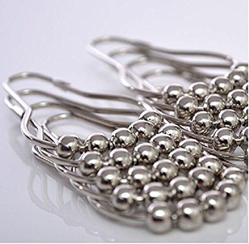 Flsp Heavy Duty Metal Silver Roller Rings Bathroom Shower Curtain Hooks Rust Proof 100 304