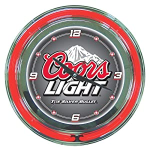 """Coors Light Chrome Double Ring Neon Clock, 14"""""""