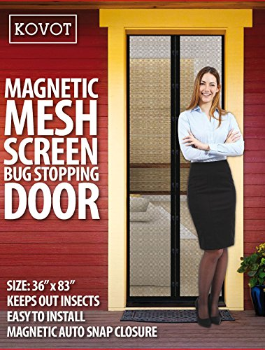 KOVOT Magnetic Mesh Screen Bug Stopping Door - Easy to Install, Keeps Insects Out, Magnetic Auto Snap Closure (Rv Magnetic Screen Door compare prices)