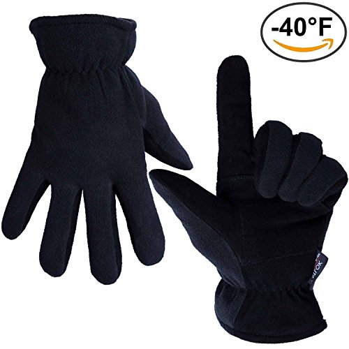 Winter Gloves, OZERO -40°F Cold Proof Thermal Glove - Genuine Deerskin Suede Leather Palm and Polar Fleece Back with Heatlok Insulated Cotton Layer - Keep Warm in Cold Weather - Black (Large)