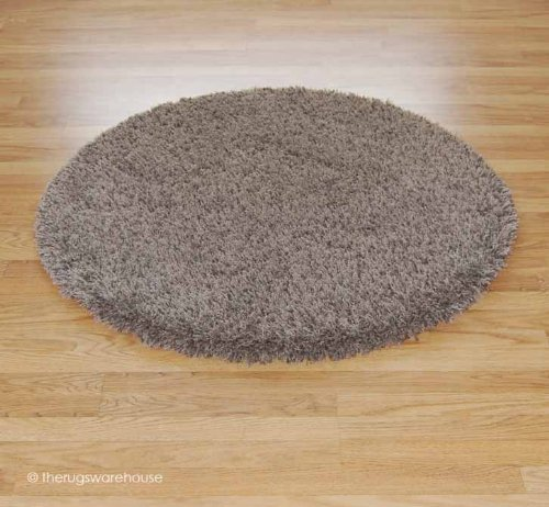 Round Luxury Twilight Shaggy Mink Coloured Circle Rug 120cm (4')
