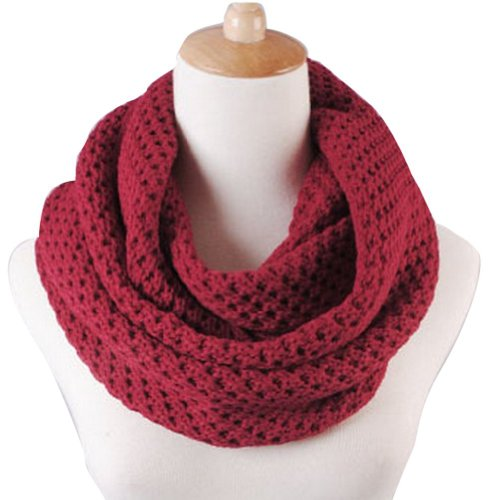 Eforstore Unisex Winter Warm Knitted Thicken Hollow Out Neckerchief Knit Infinity Scarf Christmas New Year Birthday Gift For Your Family and Friends Women Men (Burgundy)