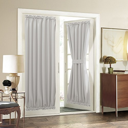 Aquazolax Plain Blackout Curtain Drapes Room Darkening for Patio Doors - Single Panel, 54 x 72 Inch, Greyish White (French Door Curtain White compare prices)