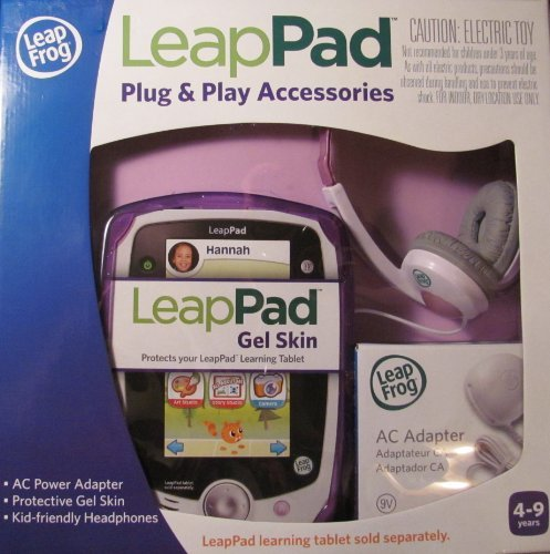 Leap Frog Leappad Plug & Play Accessories Exclusive Purple Gel Skin, Ac Adapter And Headphones