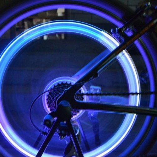 Bicycle Bike Tire Valve LED Lights Colorful Skull Head Light