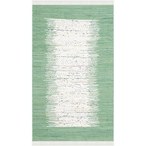 Safavieh Montauk Collection MTK711D Hand Woven Ivory and Sea Green Cotton Area Rug, 8 feet by 10 feet (8' x 10')