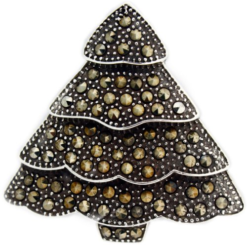 Sterling Silver and Marcasite Christmas Tree Oxidized Pin.