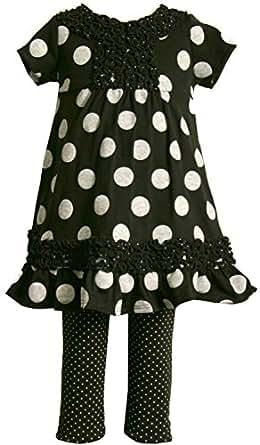 Bonnie Jean Little Girls 2T-6X Black/White Dot Print Knit Dress/Legging Set (3T, Dot)