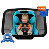 DaffaDoot Baby Car Mirror, Best Back Seat Mirror for Keeping an Eye on Baby, Super-Sized to View Rear Facing Infants through Toddlers, Superior Clarity, Shatterproof, CRASH-TESTED, Gorgeous Gift Box, Two FREE GIFTS Cleaning Cloth & Newborn Fun Facts eBook, 100% Satisfaction Guaranteed