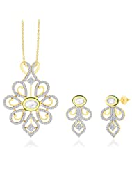 "Peora 18 Karat Gold Plated Kundan ""Priyal"" Pendant Earrings Set With Free Chain PS151GJ"