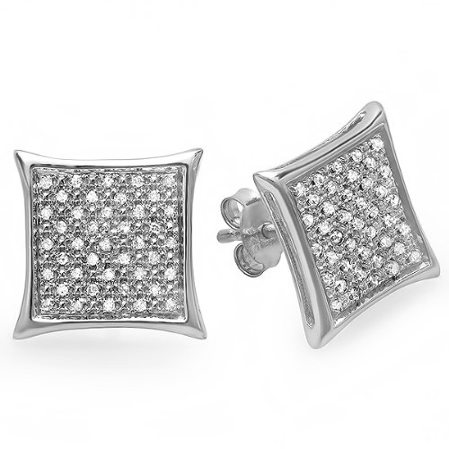 0.20 Carat (ctw) Sterling Silver Real White Diamond Kite Shape Men's Hip Hop Iced Micro Pave Stud Earrings 1/5 CT