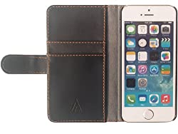 Aceabove iPhone 5 / 5S PU Leather Wallet Cover in Black with Premium Fiber Interior for the Apple iPhone 5 / 5S
