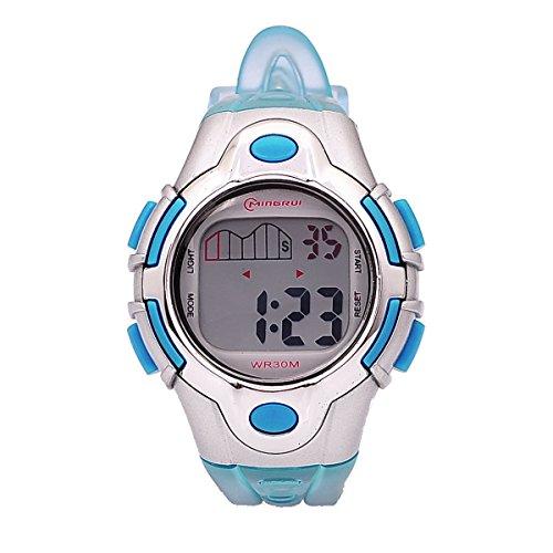 8Years- 1 Stueck Kinder LED Armbanduhr Digitaluhr Watch Stoppuhr Wasserdicht Sportuhr Blau