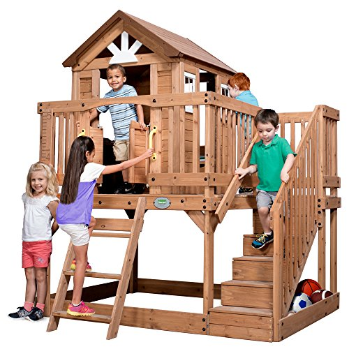Backyard Discovery Scenic Heights All Cedar Playhouse (Wooden Playhouse With Slide compare prices)