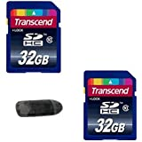2 Transcend 32 GB Class 10 High Speed SD Cards (64 GB Total Memory) + USB Memory Card Reader For All DSLR Cameras Video Cameras & Digital Cameras