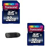 2 Transcend 32 GB Class 10 High Speed SD Cards (64 GB Total Memory) + USB Memory Card Reader For All DSLR Cameras Video Cameras & Digital Cameras