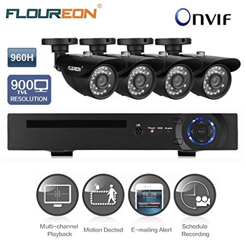 FLOUREON Videoüberwachung CCTV Set 960H DVR Onvif 1080P NVR mit 4 Stücke 900 TVL Nachtsicht Überwachungskamera Set