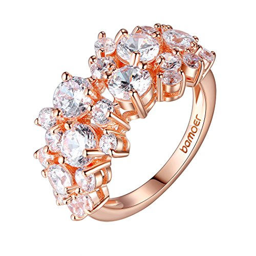 Bamoer Fashion Jewelry Womens Girls 18K Rose Gold Plated Brass Inlay Aaa Cubic Zircon Engagement Ring