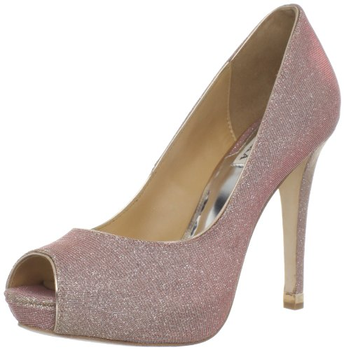 Badgley Mischka Women&#8217;s Humbie IV Peep-Toe Pump,Rose/Gold,7 M US