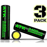 3.7v 18650 Battery | Built-in Over Heat & Charge Protection Board | 3400 mAh Li-ion Rechargeable Batteries