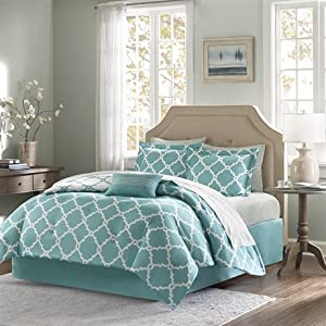 Madison Park Essentials Merritt Complete Bed And Sheet Set - Aqua - Queen