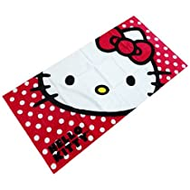 Hello Kitty Polka Dot Beach/ Bath/ Pool Towel- 100% Cotton (JoyAve)