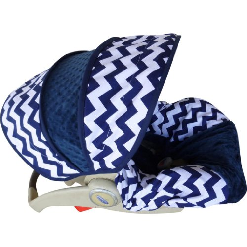 Navy Chevron With Navy Infant Car Seat Cover