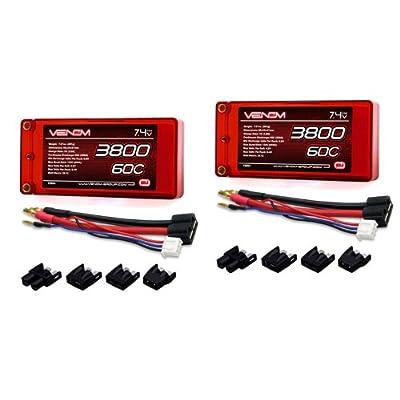 Venom 60C 2S 3800mAh 7.4V Shorty LiPo Battery ROAR with Universal Plug (EC3/Deans/Traxxas/Tamiya) x2 Packs