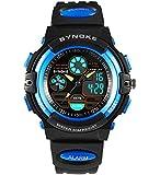 Double Movement 30M Waterproof Sport Watch,Boys Military Multifunctional Analog-Digital Wrist Watch-Blue
