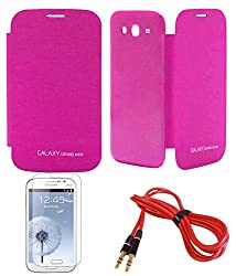 TBZ Premium Flip Cover Case -Magenta for Samsung Galaxy Grand Neo with Screen Guard and AUX Cable