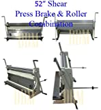 "Industrial 52"" x 16 Gauge 3-IN1 Sheet Metal Shear Brake Slip Roll Bender Pan Box"